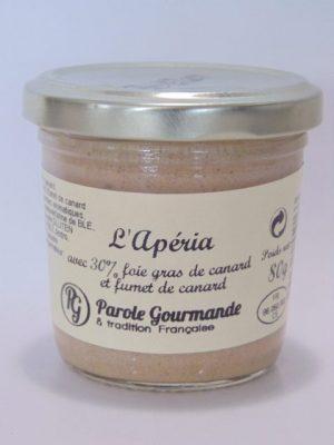 """L'Apéria""avec 30% foie gras de canard et fumet de canard – 12cl"