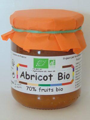 Confiture d'abricot Bio 70% de fruits – 240g