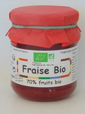 Confiture de fraises Bio 70% de fruits – 240g