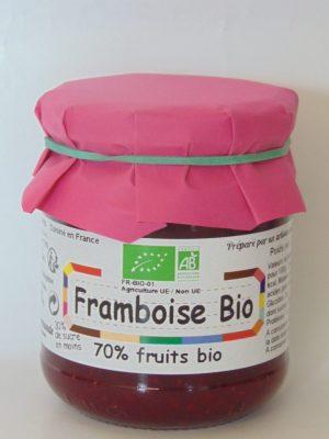 Confiture de framboises Bio 70% de fruits – 240g